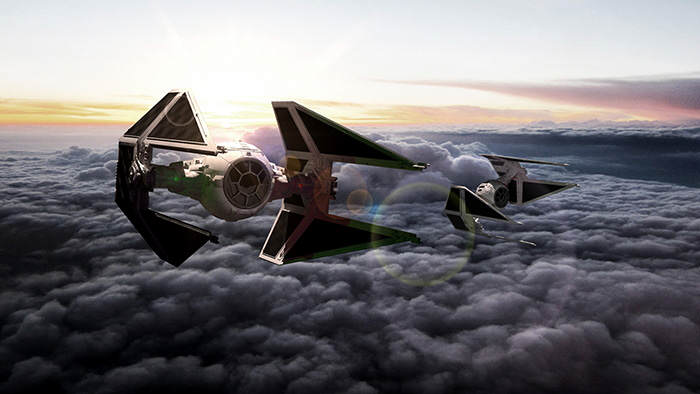 UFOs over Barcelona: TIE Interceptor Rendez-vous above the clouds